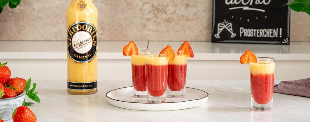 VERPOORTEN Erdbeer-Shots auf einem Marmortisch